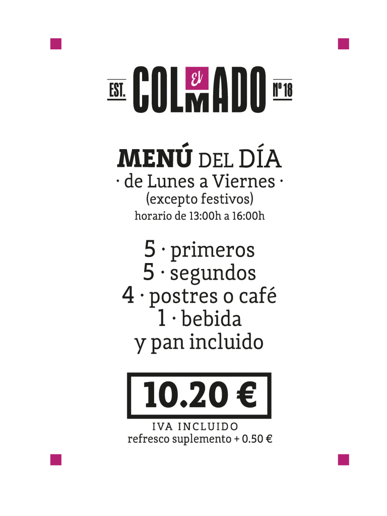 menu del dia colmado bar 2018